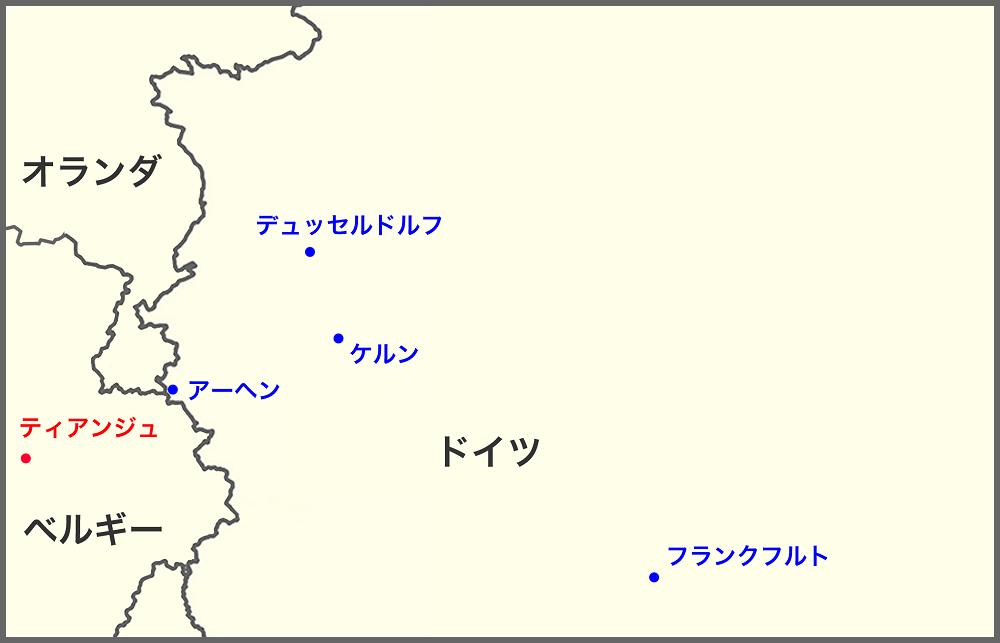 アーヘンの地図 オランダ、ベルギー、ドイツの国境上に位置するアーヘン © KS Graphics