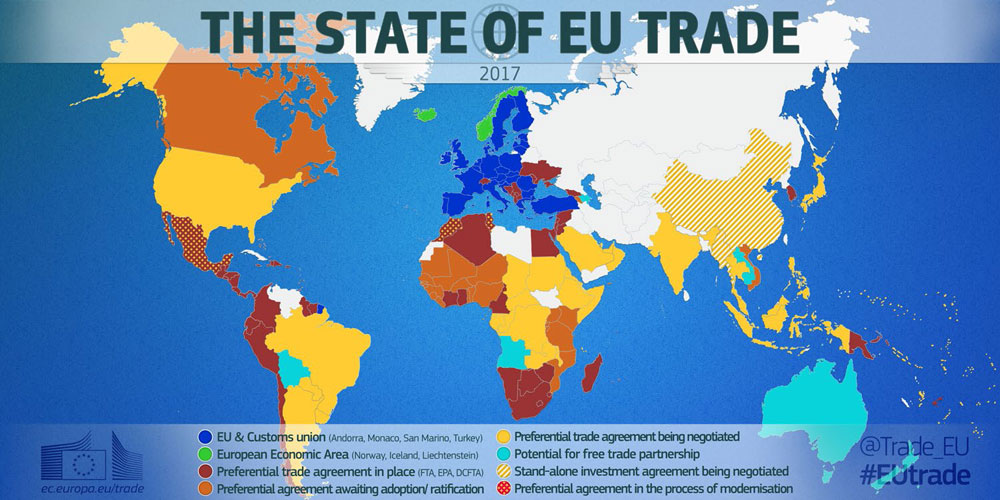 EUが牽引する自由貿易圏マップ、濃青と緑が完全な自由貿易圏、これに濃茶・茶(批准待ち)が協定を締結した国・地域で、日本もEPA合意により茶色の地域となる。 European Union 2017