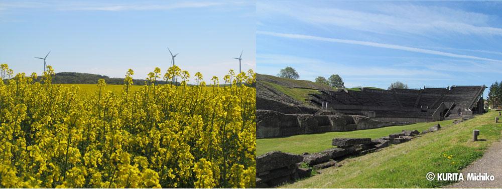 近郊では、最近、多くの風力発電用風車が立ち、ローマ時代の遺跡を発掘し立派な博物館もできた。