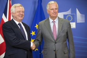 David Davis, on the left, and Michel Barnier