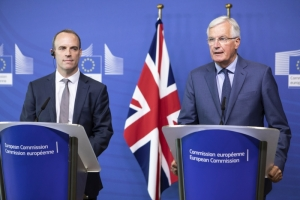 Dominic Raab, on the left, and Michel Barnier