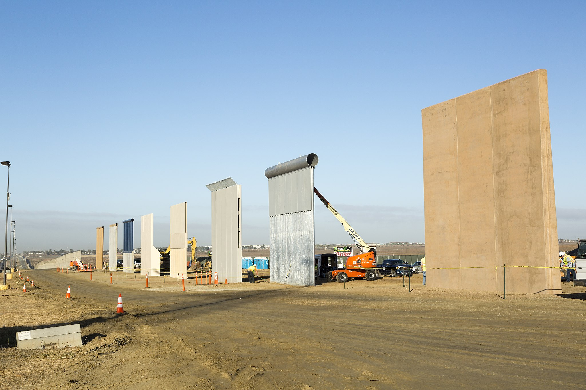 Ground views of different Border Wall Prototypes as they take shape during the Wall Prototype Construction Project near the Otay Mesa Port of Entry...Photo by: Mani Albrecht